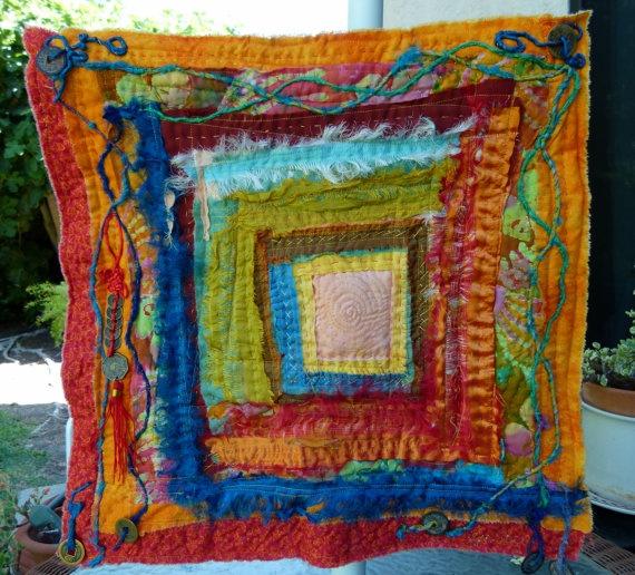 colourful squares - fabric art