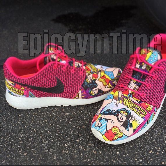 :D I have Roshe and they're so comfy... I want these. | Wonder Woman Nike Roshe by EpicGymTime on Etsy