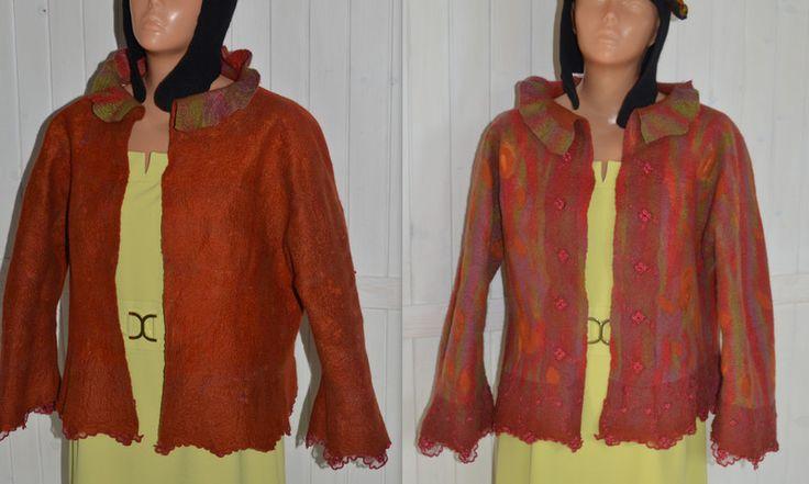 Tunic jacket wool, hand-felted - JustKa313 - Żakiety i krótkie kurtki