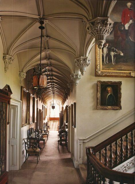 Repeating gothic groin vaults, the bedchambers corridor in Birr Castle, Ireland