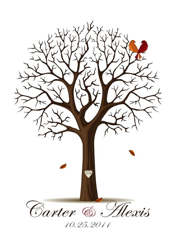 Considering using this for my wedding guestbook...its a fingerprint tree. The guest make the leaves with their fingerprints and then sign their name next to it.