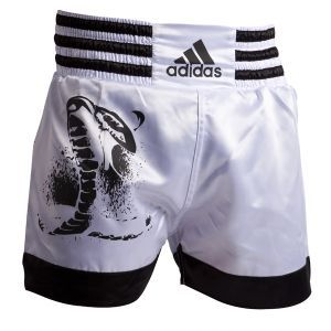 Short de boxe thaï  adidas Blanc/Noir