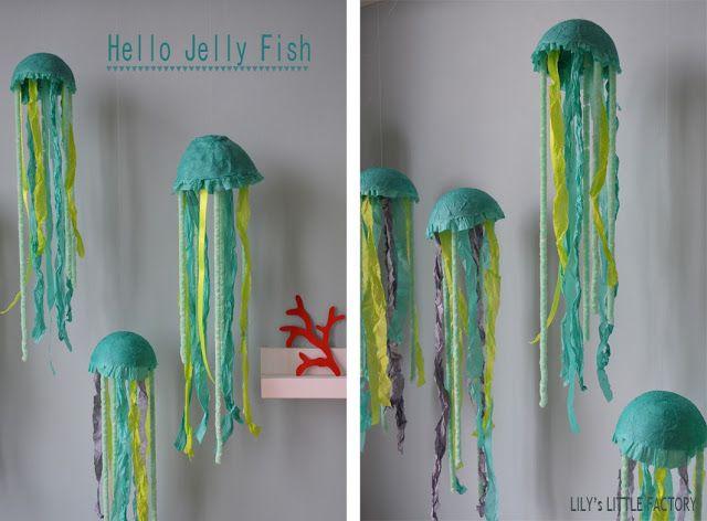 DIY meduse jellyfish papier maché soie