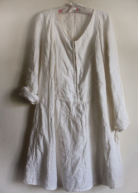 White 100% linen dress by GreenHouseGallery on Etsy
