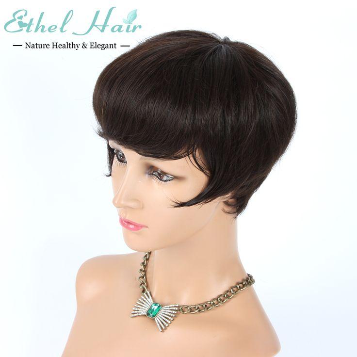 7A бразильские человеческие волосы короткие стрижки 6 дюймов ни боб парики фронта парики glueless полные парики с челкой для чернокожих женщин