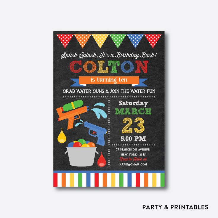 Water Gun Birthday Invitation, Water Gun Invitation, Boy Water Party Invitation, Squirt Gun Party, Personalized, Chalkboard (CKB.494) by everjolly on Etsy https://www.etsy.com/listing/294157697/water-gun-birthday-invitation-water-gun