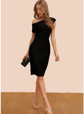 VERYVOGA Solid Short Sleeves Sheath Knee Length Little Black/Party/Elegant Dresses 3