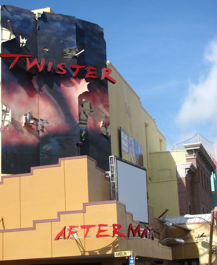 Pin for Later: 10 Crazy Things You Never Knew About Universal Orlando In Twister . . . Ride It Out, the marquee shows Psycho and The Shining. Psycho (1960) was a Universal film, and The Shining (1980) was a Warner Bros. film. Twister was a coproduction between the two studios.