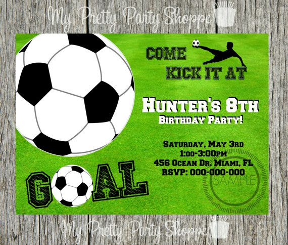 Soccer Sports Themed Birthday Party Invitation en 2019 invitaciones Cumple Diego Sports