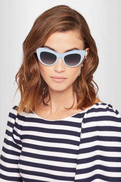 Dolce & Gabbana - Cat-eye Embellished Acetate And Silver-tone Sunglasses - Blue - one size