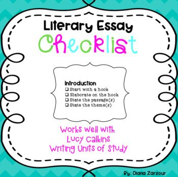 best literary essay ideas literary writing  literary essay writing checklist