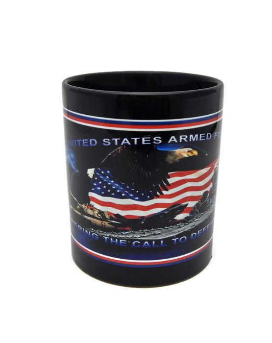 United States Military Armed Forces Blue Mug Army Navy Air Force Marines Eagle #Unknown