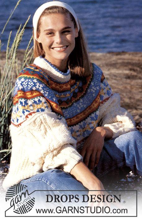 DROPS sweater i Alaska med nordisk Perlesnoninger og Bærestykke
