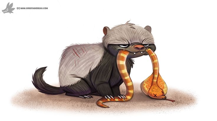 Daily Painting #962. Honey Badger Don't Care (OG) by Cryptid-Creations.deviantart.com on @DeviantArt