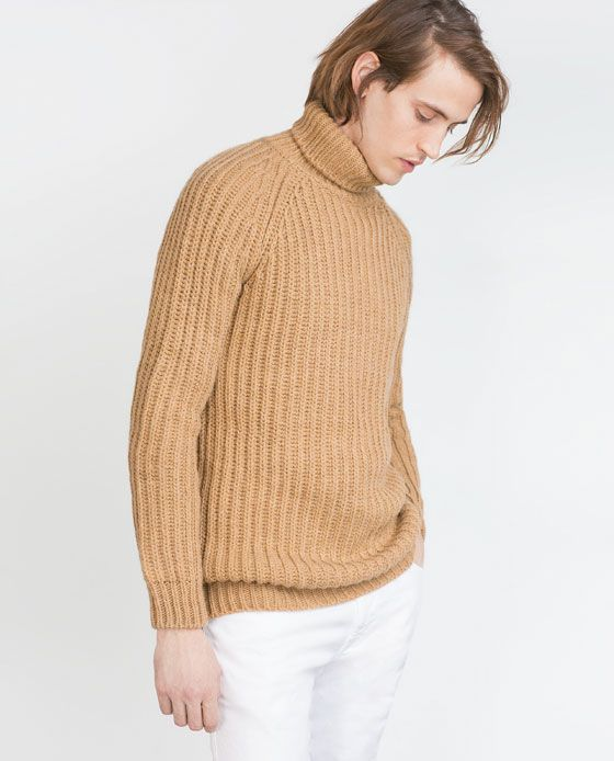 CHUNKY KNIT SWEATER WITH POLO NECK