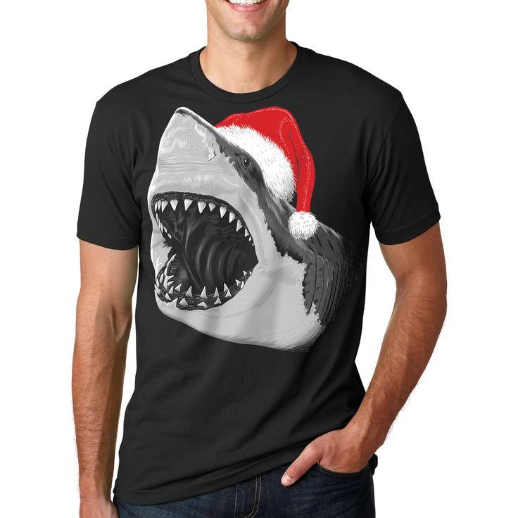 Mens Santa Jaws T Shirt Cool Christmas Hat Shark Pun Tee