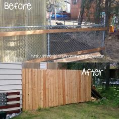 Add cedar planks to a chain link fence for a cheap upgrade and privacy