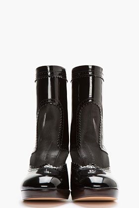 CHRISTOPHER KANE Black Patent Leather Mesh-Trimmed Brogue Boots
