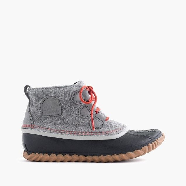 Boot similar to this with flat bottom and good for snow in 11, 11.5, or 12 WIDE.    Women's Sorel® for J.Crew Out N About™ leather boots