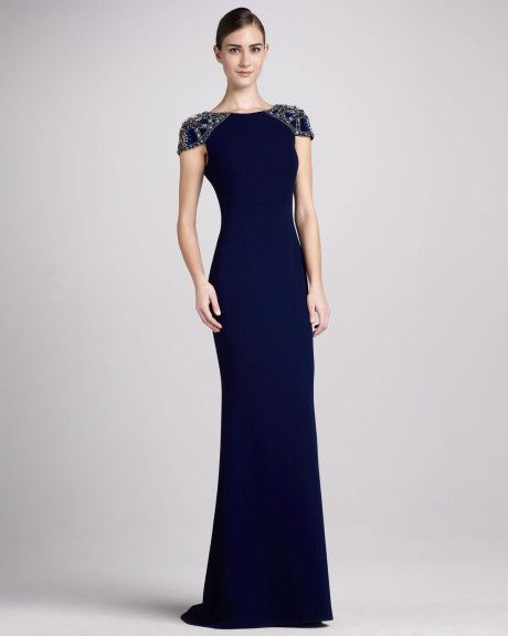 navy blue evening gown with sleeves | ... Collection Jersey Gown with Beaded Cap Sleeves in Blue (navy) - Lyst
