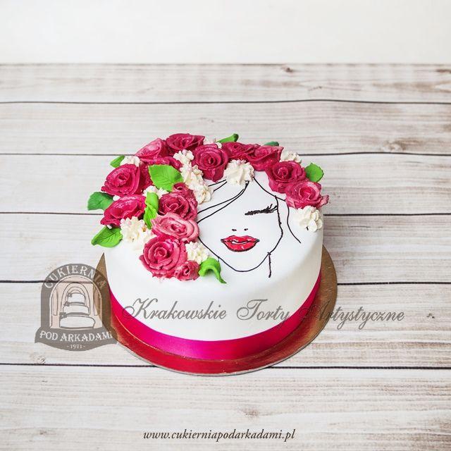 275ba Tort Z Recznie Malowana Twarza Kobiety Z Kwiatami We Wlosach Flowers In Hair Cake Snow Globes Decor