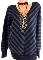 $49 Lane bryant black grey plus size striped textured v-neck sweater top 18/20