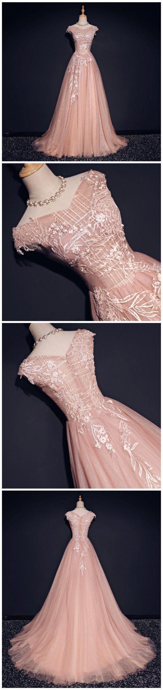 Blush Pink Off Shoulder V Neckline Lace Long Evening Prom Dresses, Popular 2019 Party Prom Dresses, Custom Long Prom Dresses