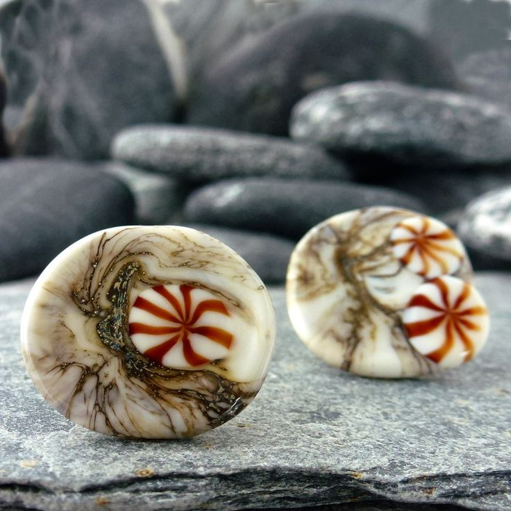 'fossil' stud earrings handmade lampwork glass by MaidofGlass.co.uk