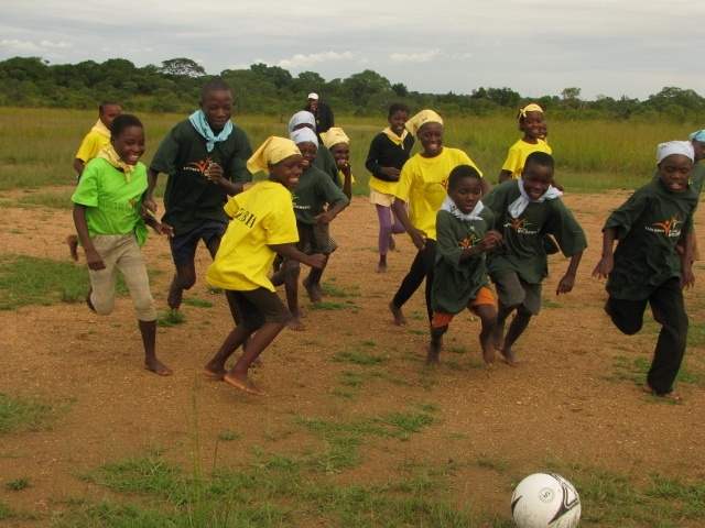Soccer on the airstrip - at the Lufupa CITW Camp, Zambia