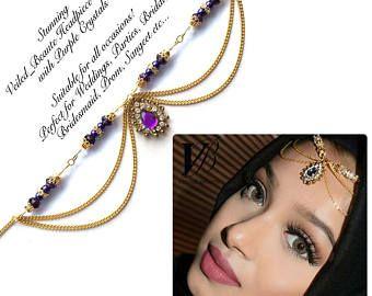 Purple head piece , head wear , Gold hair jewelry , eid arabic hijab jewels , chain hair accessories , matha patti , indian bridal jhoomer