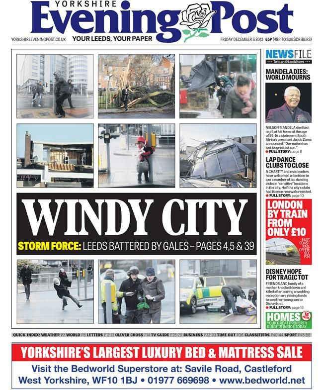 Windy in Leeds: Yorkshire Posts, Newspaper Front