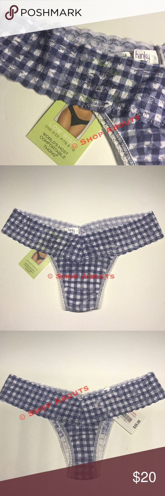 """Hanky Panky Check Please Low Rise Thong Panty 🌿 you'll love your mornings slipping into these   """"Check Please""""  modern and chic - blue on white gingham check panties by Hanky Panky,  New with Tags $24   🍃 Soft Signature Stretch Lace 🍃 Low Rise Thong  🍃 Body:  Nylon; Trim: Nylon and Spandex  🍃 hand wash  💕Happy to Posh this """"found on sale""""  panty with savings for you! Please check my closet for more great finds 💕 Hanky Panky Intimates & Sleepwear Panties"""