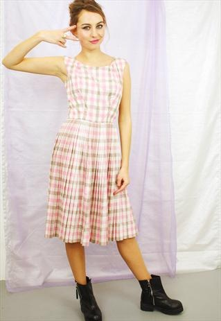 Vintage Checked Pink and White 50's Prom Dress
