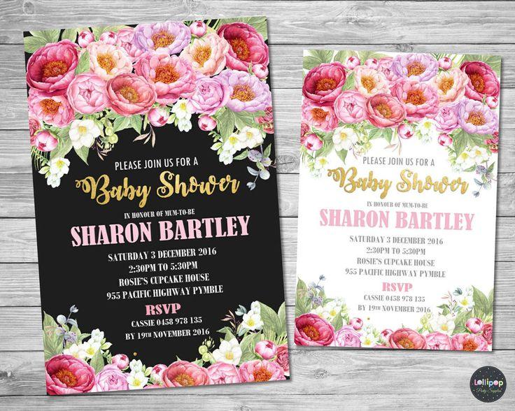 FLORAL FLOWERS BABY SHOWER PERSONALISED INVITATION INVITE CARD PEONIES BRIDAL #CUSTOMINVITATION #BABYSHOWER