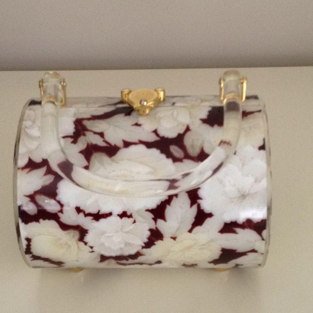 Floral lucite handbag