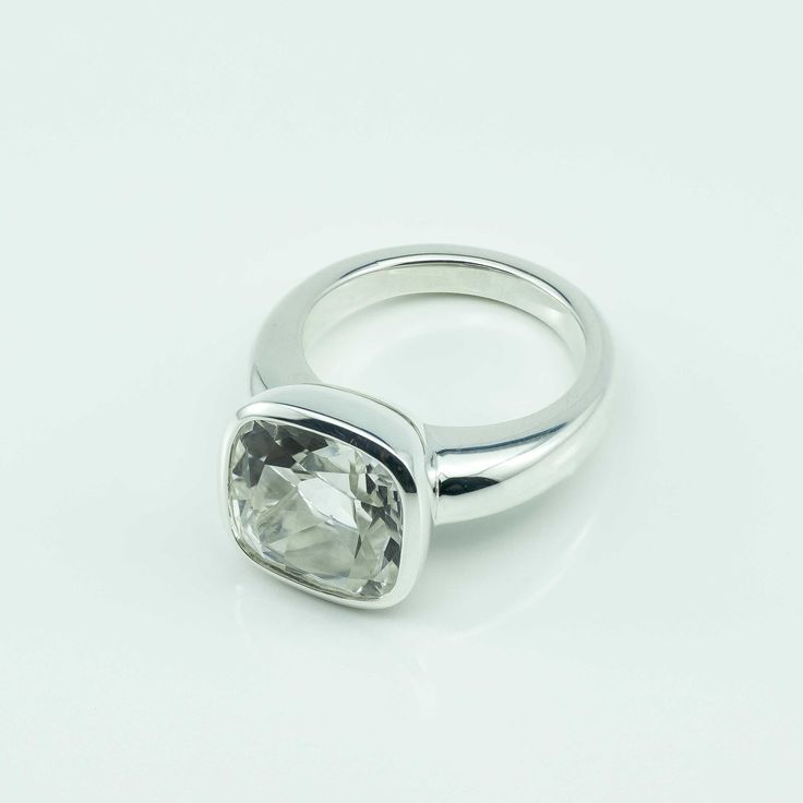 Image of Cushion Cut Clear Quartz in Argentium Silver