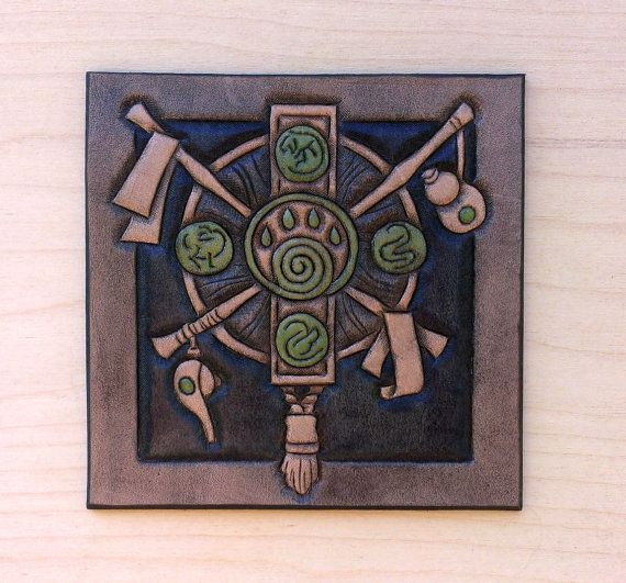 Leather coaster Crest of the Pandarin by TimnKirasArt on Etsy
