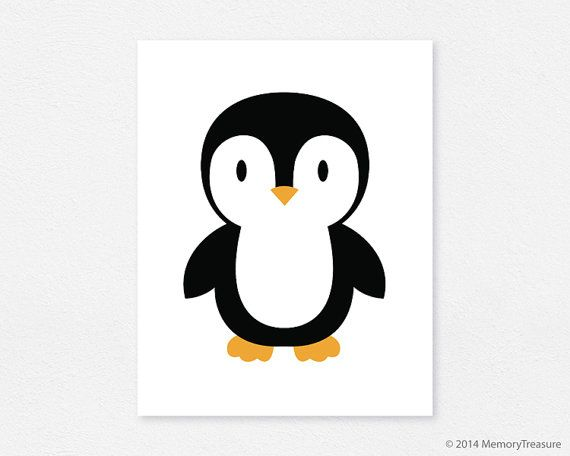 Penguin Nursery Decor Wall Art Print Baby Boy by MemoryTreasure