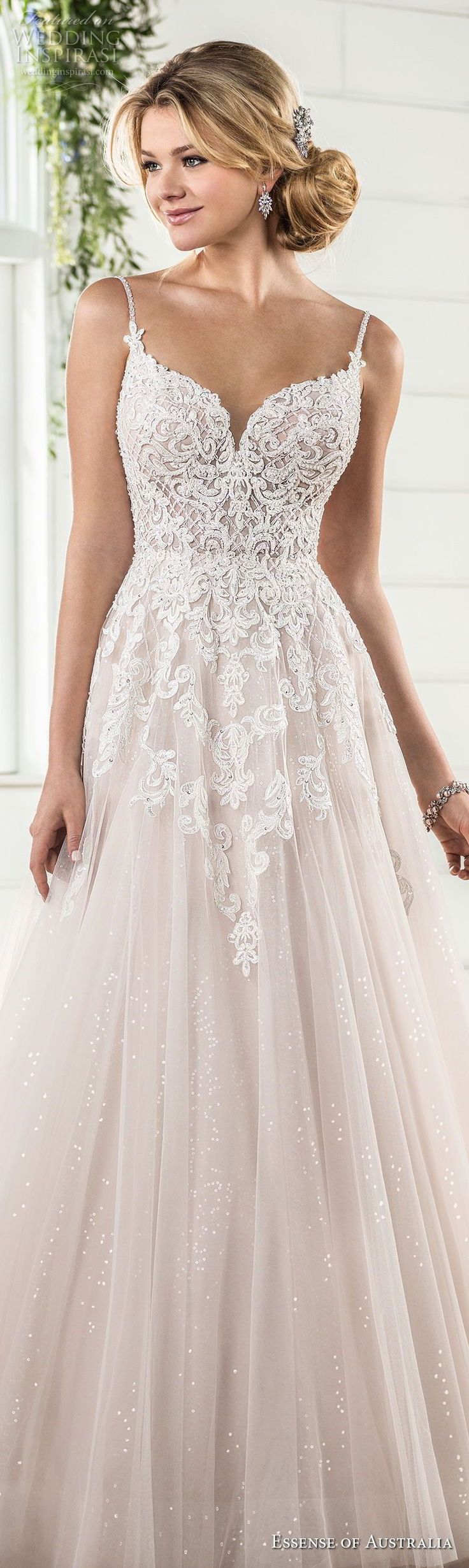 how much does the average wedding dress cost australia%0A essense australia fall      bridal spaghetti strap sweetheart neckline  heavily embellished bodice romantic blush color a