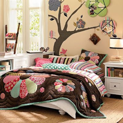 A lovely bedroom in 'Woods' theme. Add lots of colors, it stimulates the brain but do not overdo! Brown is the base color and it anchors the various prints. Lovely memo boards, cute ladder to hold magazines!