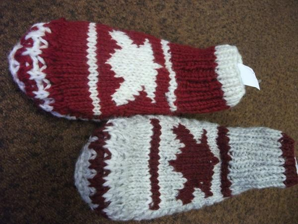 "100% wool knitted slipper socks with 2"" leg Maple leaf knitted on top of foot, One sizes fits all"