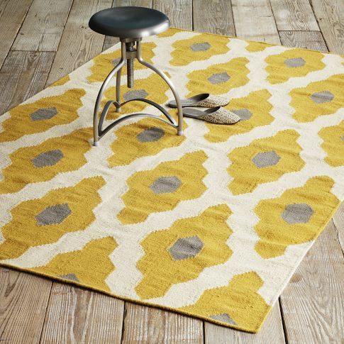 Bazaar Wool Dhurrie | west elm - I love the yellow to brighten the room for the spring/summer