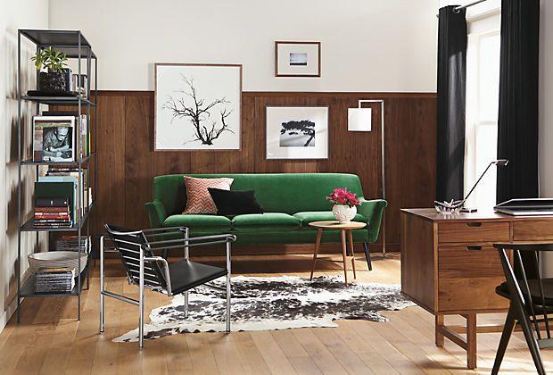 Emerald green sofa.  Murphy Sofas - Murphy Living Room - Colorful Modern Furniture - Room & Board