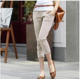 {Guoran} Summer Harem Pants For Women 2017 new Ladies Capri Leggings Mid calf Length Black Khaki Trousers Casual Pants Pantalon