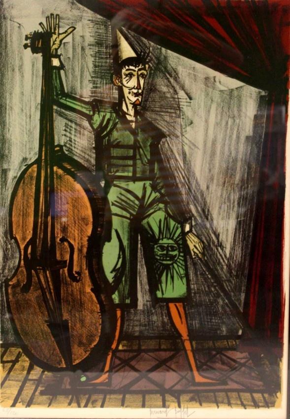 Bernard Buffet Lithograph. Harlequin with Cello.