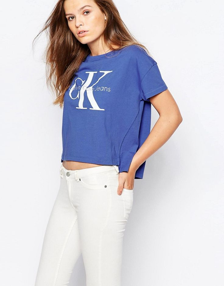 Buy it now. Calvin Klein Jeans Cropped Boxy T-Shirt With Logo - Blue. T-shirt by Calvin Klein Lightweight jersey Branded print Cropped cut Regular fit - true to size Machine wash 100% Cotton Our model wears a UK 8/EU 36/US 4 , topcorto, croptops, croptops, croptop, topcrop, topscrops, cropped, bailarina, topbailarina, corto, camisolacorta, topcortoestilobandeau, crop, bralet, strappybralet, bandeautop. Navy Calvin klein  crop top  for woman.