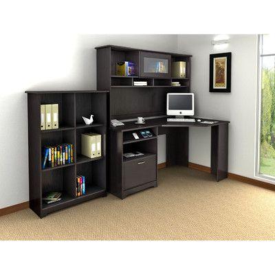 Bush Cabot Corner Desk with Hutch and Bookcase   Wayfair