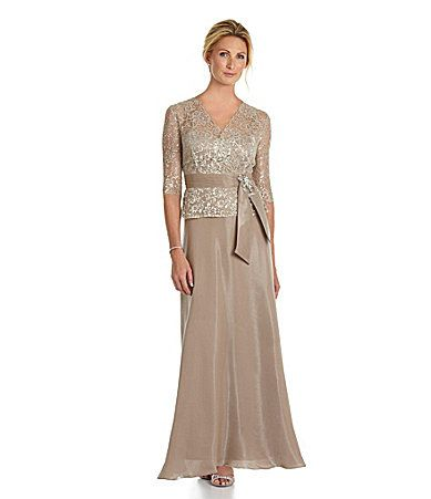 One of my favorites of the typical MOB dresses.  Would shorten it to tea-length.   KM Collections Lace Shimmer Top Gown #Dillards