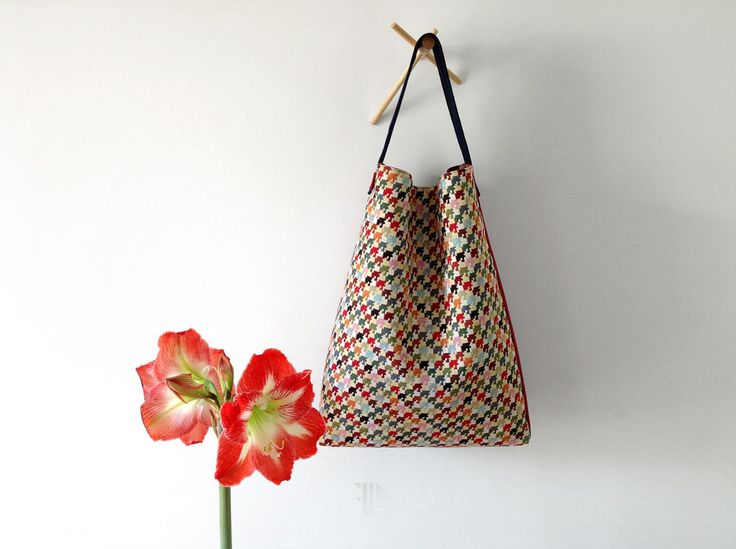 Double face hobo bag in multicolor houndstooth fabric by FMLdesign  https://www.etsy.com/listing/386282052/double-face-hobo-bag-in-multicolor?ref=shop_home_active_1