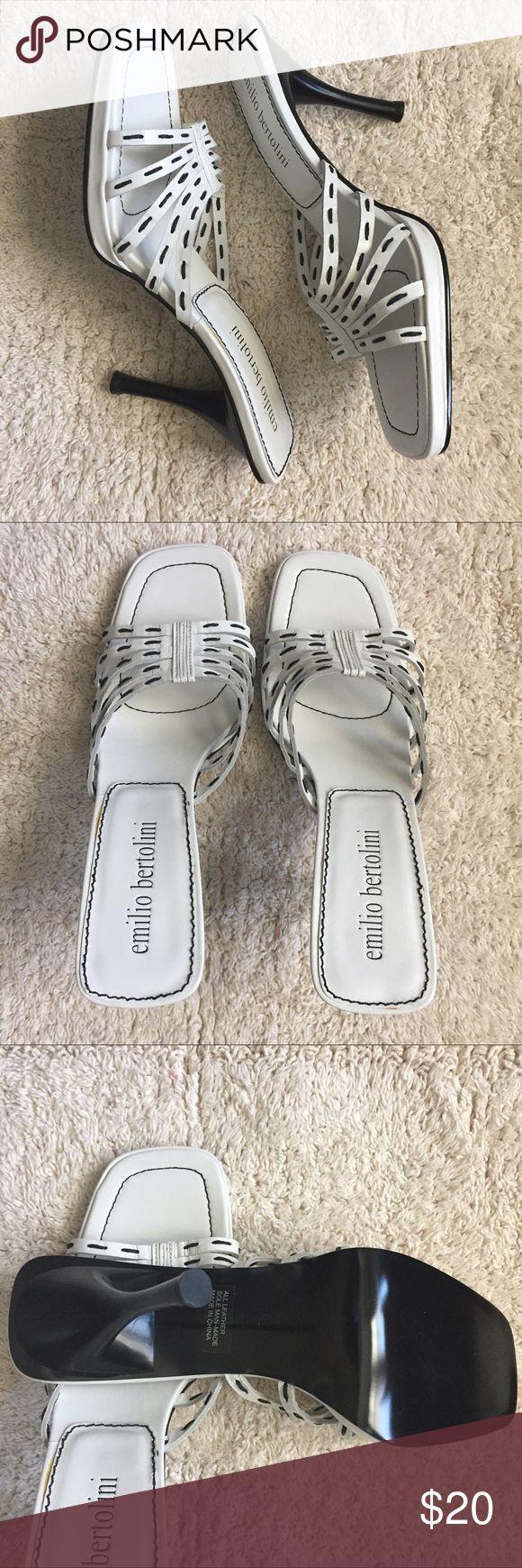 Emilio Bertolini leather high heel slide, size 8 Nice black and white leather slide heel sandal. Never worn. Emilio Bertolini Shoes Heels